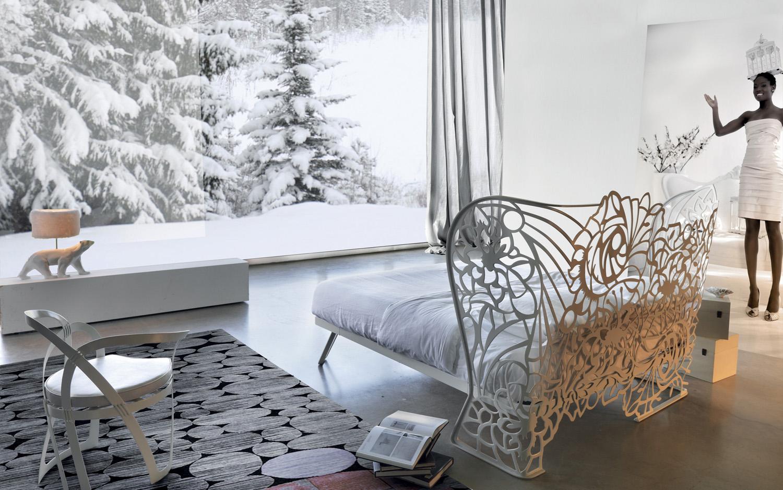 Letto ferro traforato design arredamento moderno for Letti moderni in ferro